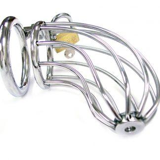 Kyskhetsbälte i silvrig metall för penis. Litet hänglås i guld upptill.
