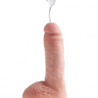 Sprutande Dildo Med Pung 20 cm - Ljus Hudfärg