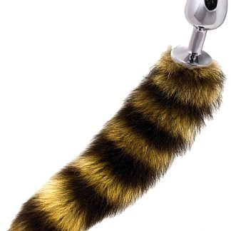 Dolce Piccante: Jewellery Plug with Tail, stripe/silver, large