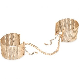Bijoux Indiscrets: Desir Metallique, Metallic Mesh Handcuffs, guld