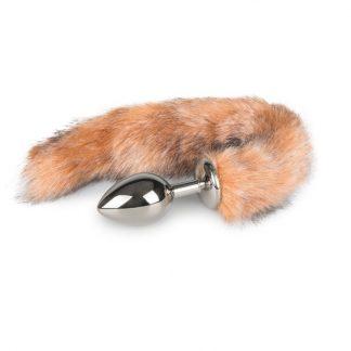 Fox Tail Plug No. 3 - Silver - 36cm Rävsvans Brunrandig