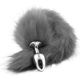 Fox Tail Plug Silver Grey